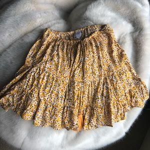 Princess Polly yellow flower drawstring skirt